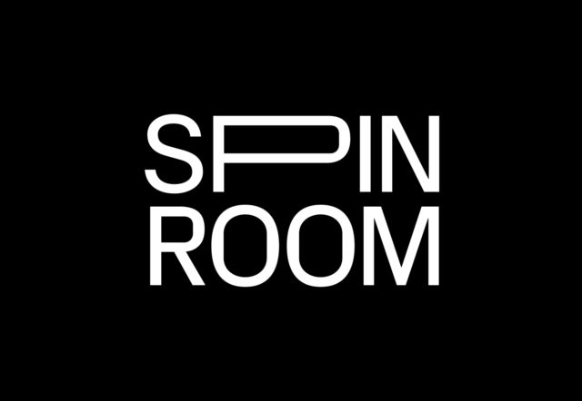 white text spin room on black background flyer