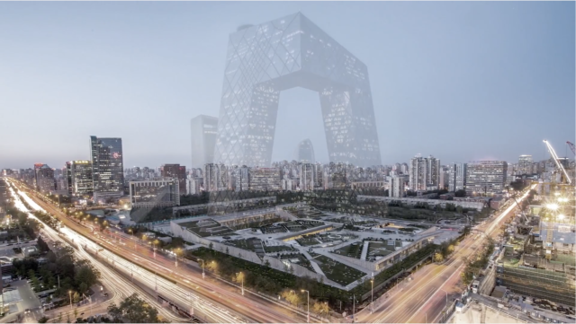 CCTV building saturated superimpostion upon site design