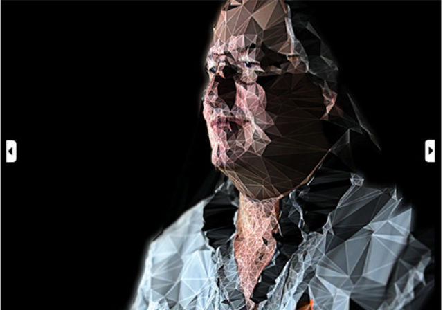 Bruce Sterling filtered through triangulated mesh portrait