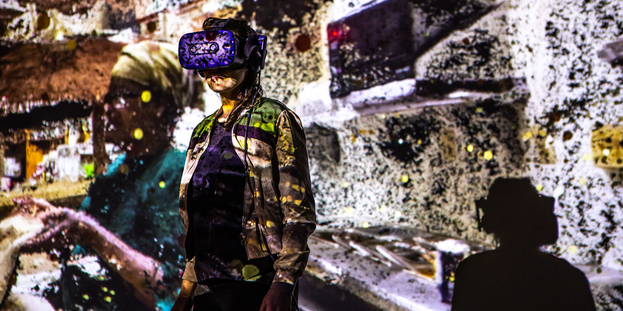 VR installation person googles projection