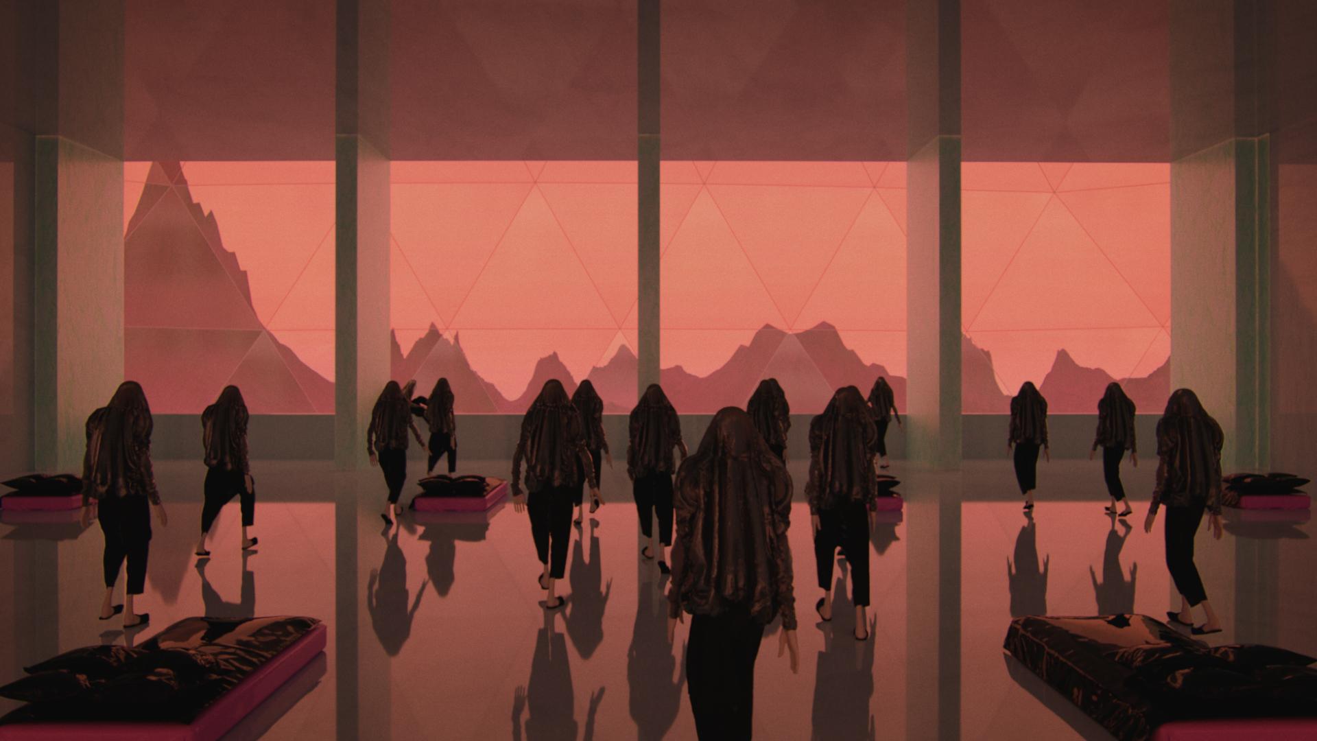 film stills silhouettes pink landscape