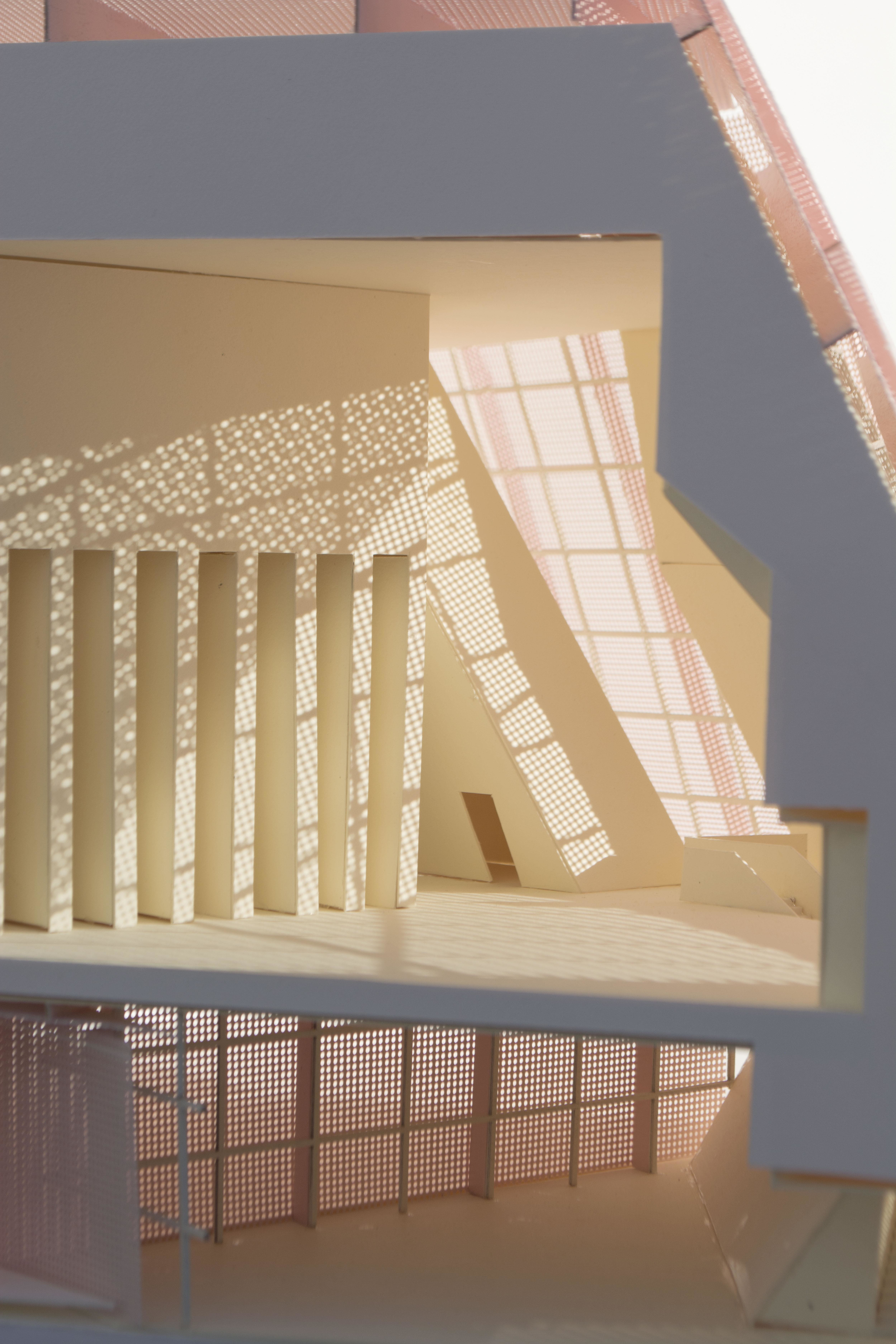blue white and pink architecture model