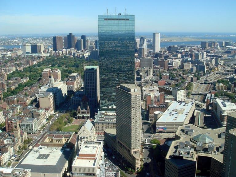 john hancock tower in boston cityscape