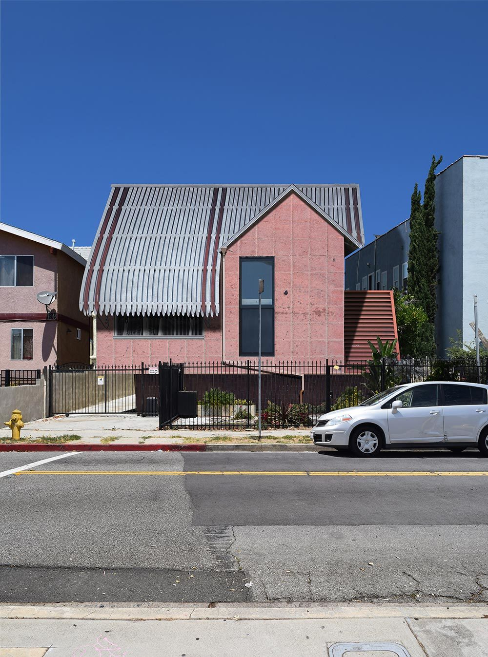 designed facade of house sits in context