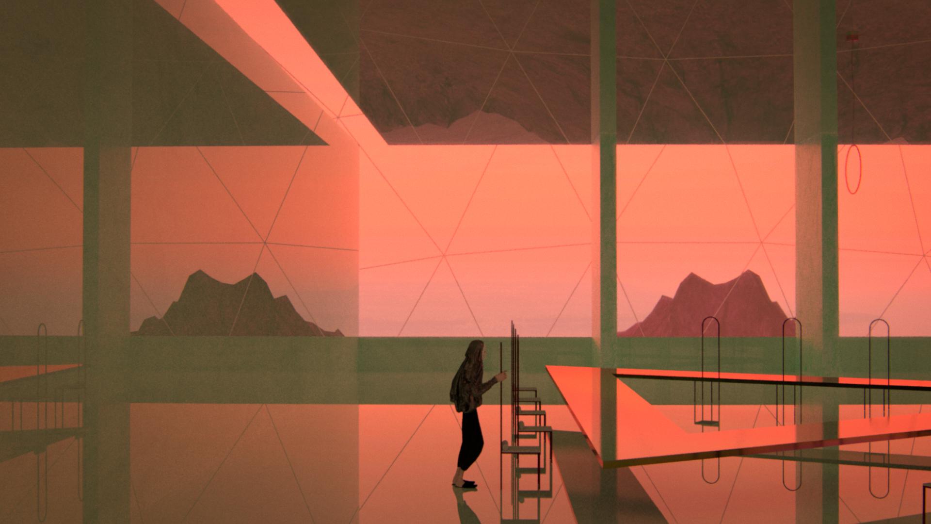 film still pink landscape person room
