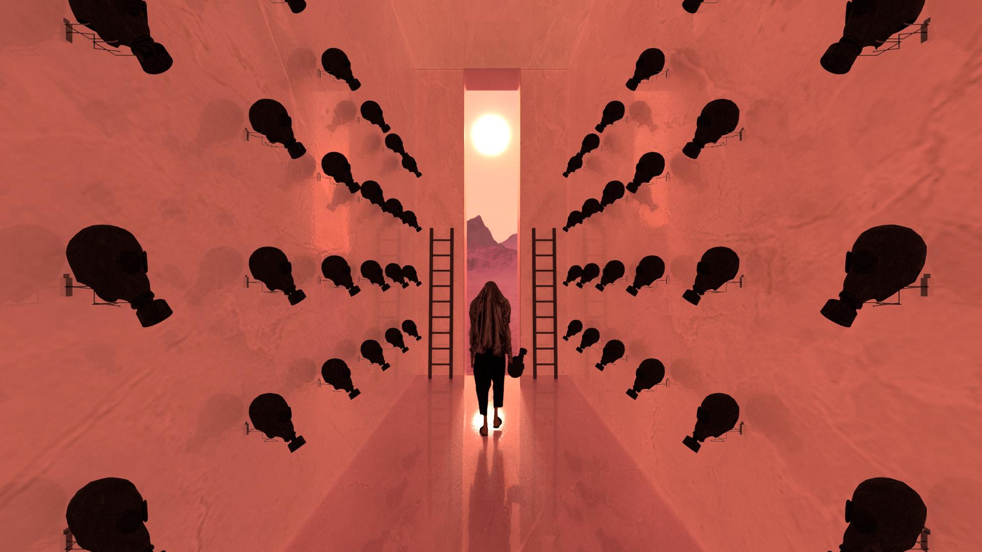 film still hallway person sunset