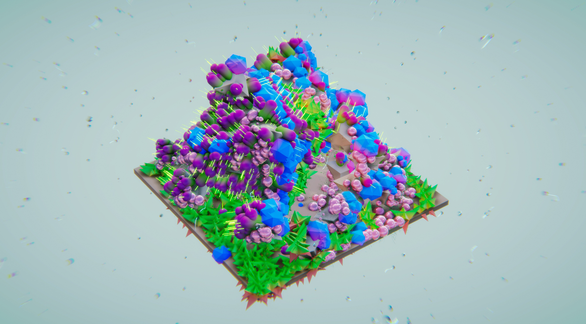 colorful blob floating grass
