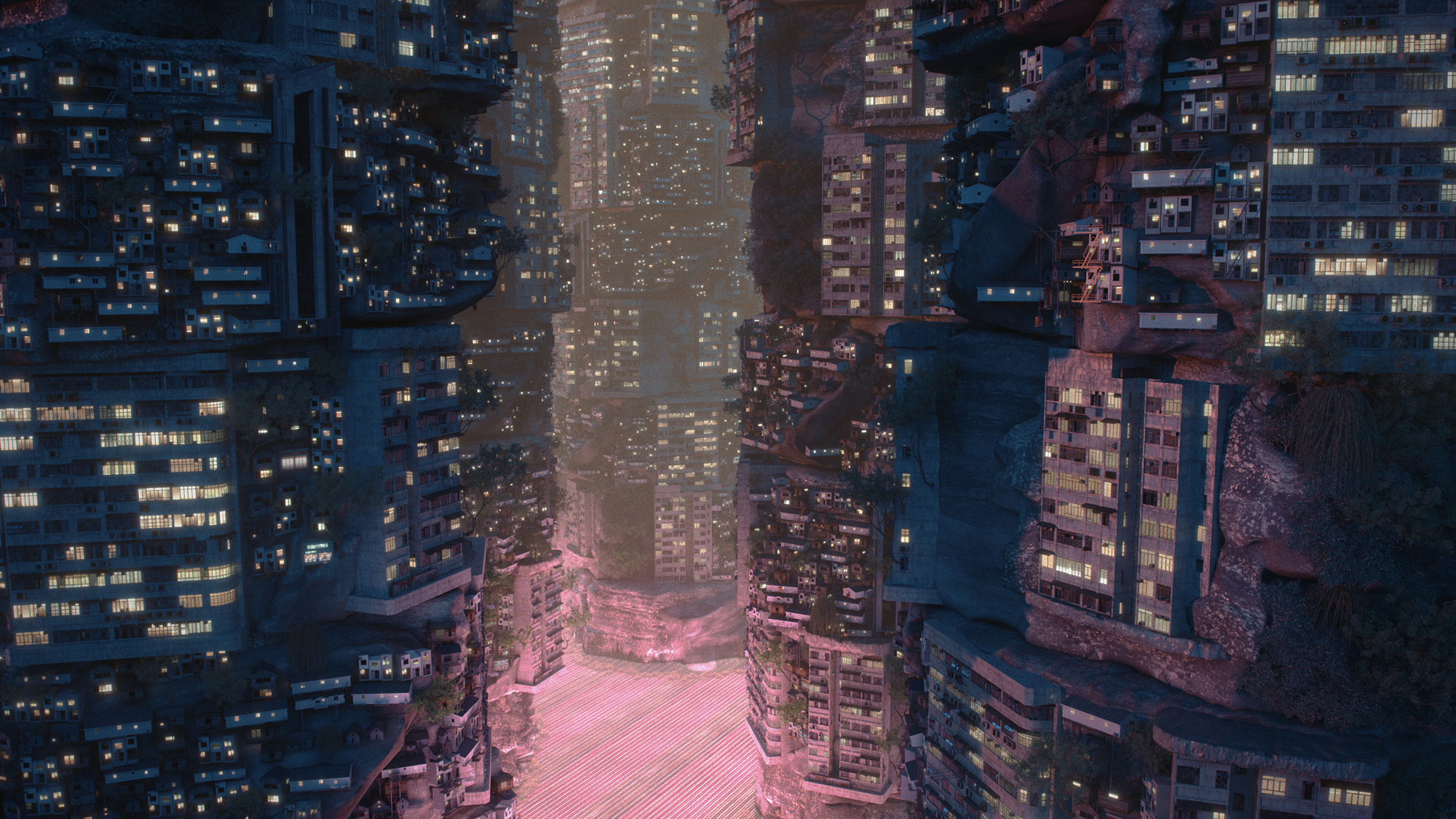 cityscape render buildings lights pink ground