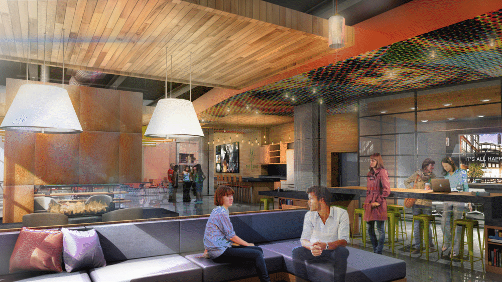 interior architectural rendering people sitting on couch
