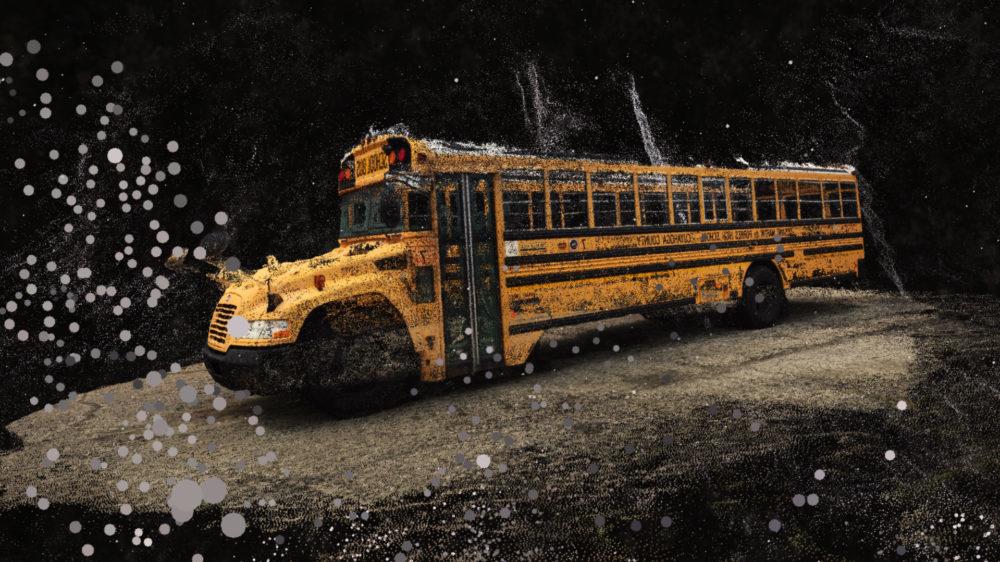 VR film still particles schoolbus