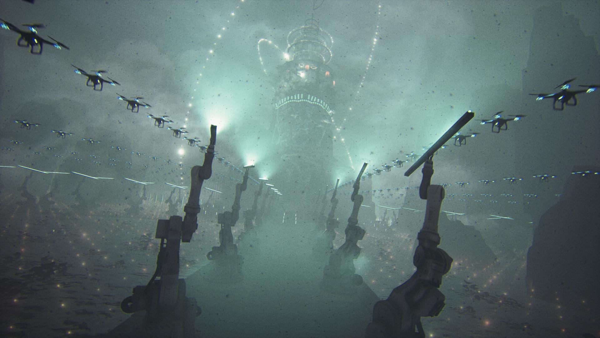 robots drones fog film still