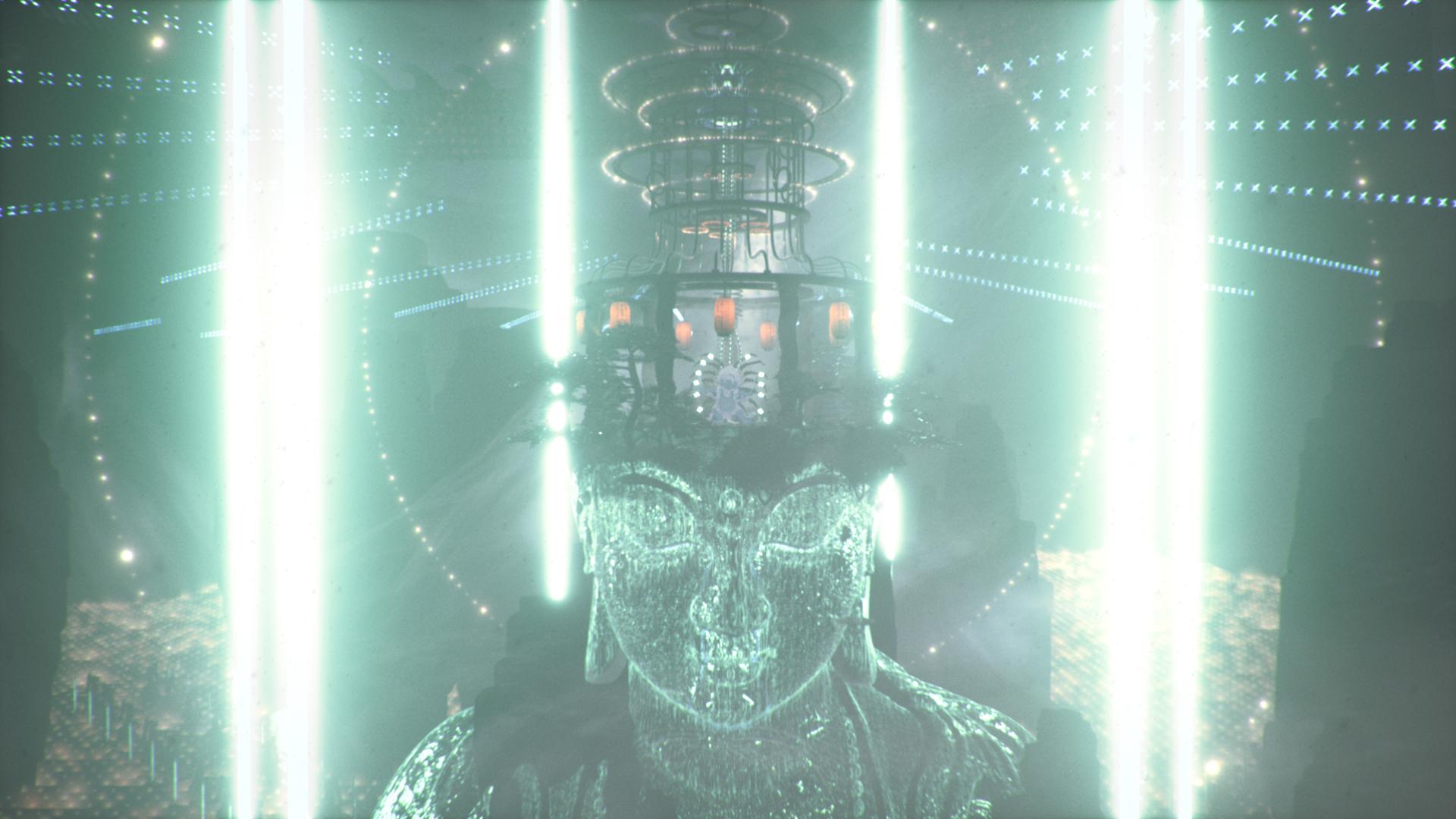 light beams statue temple film still