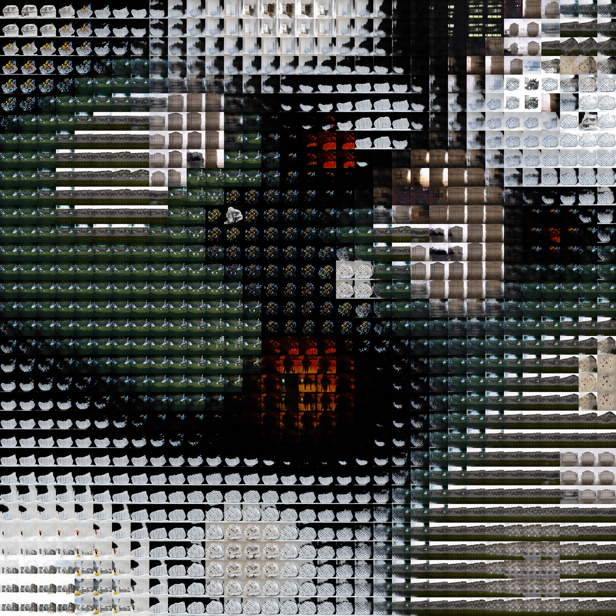 artificial intelligence generated pixelated grids