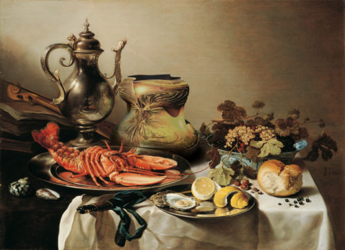 1 Young Ayata Still Life With Lobster Silver Jug Large Berkenmeyer Fruit Bowl Violin Books And Sinew Object After Pieter Claesz 1641 2014
