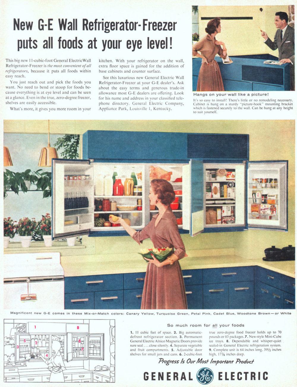 09 Ge Wall Refrigerator Freezer Blue