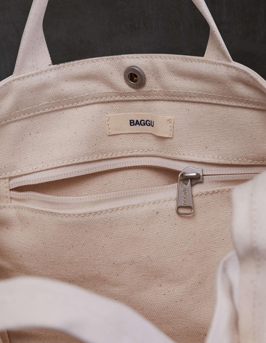white canvas baggu bag detail