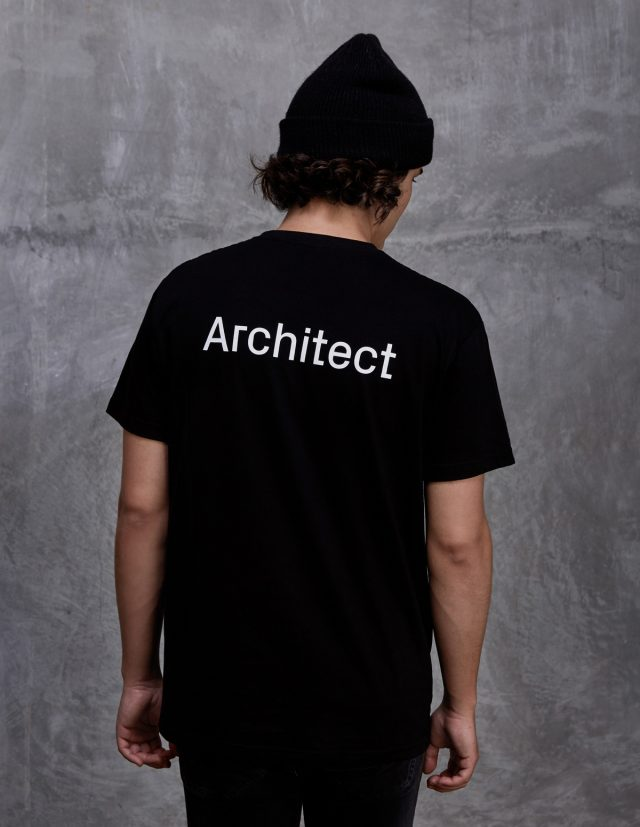 black architect logo tee shirt on person