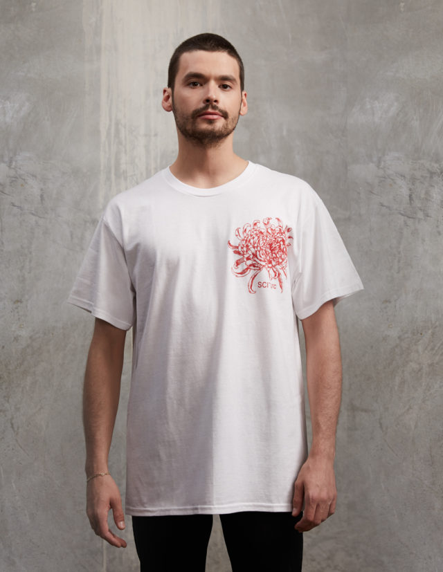 eamon single flower white sciarc t shirt