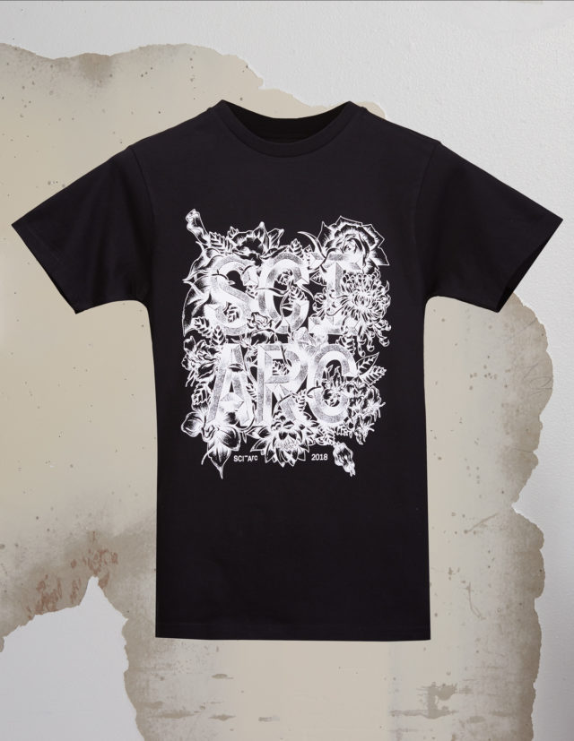 sciarc floral logo tee shirt