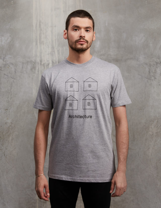 four houses architecture logo grey tee shirt front