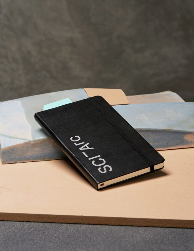 sciarc hardcover notebook on surface