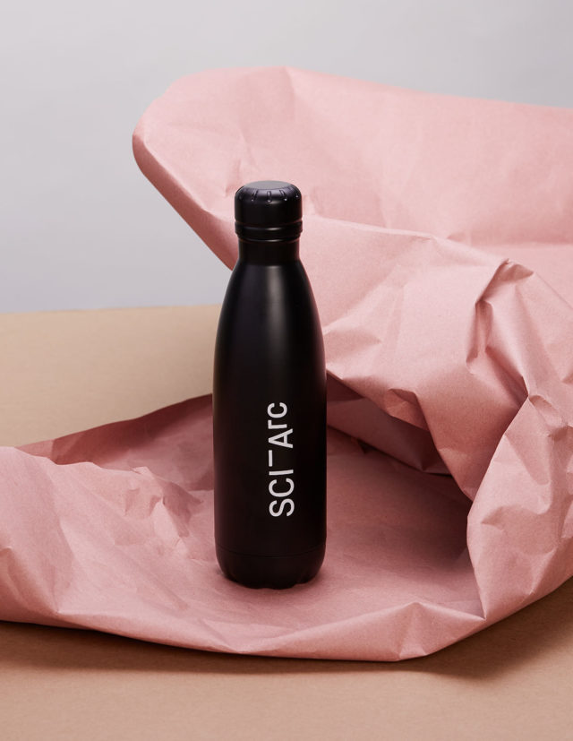 sciarc black merchandise water bottle