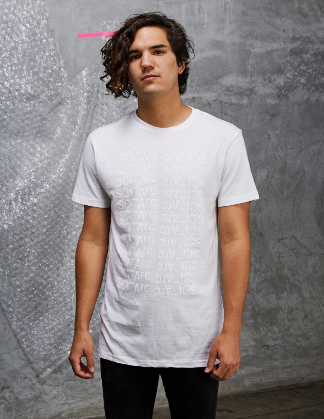 white on white sciarc logo tee shirt sweater on male