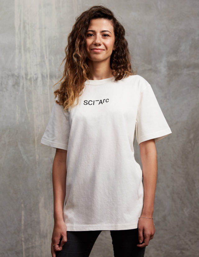 white embroidered sciarc logo t shirt