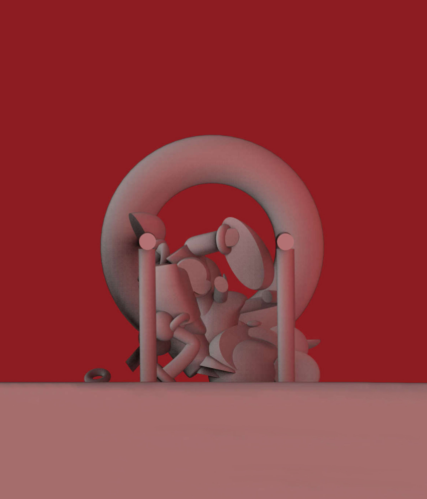 red pink circular composition in visual studies