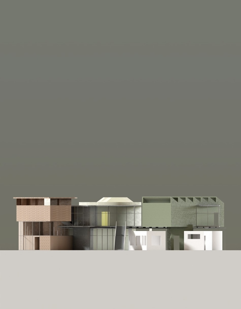 architecture model render moss green pink grey