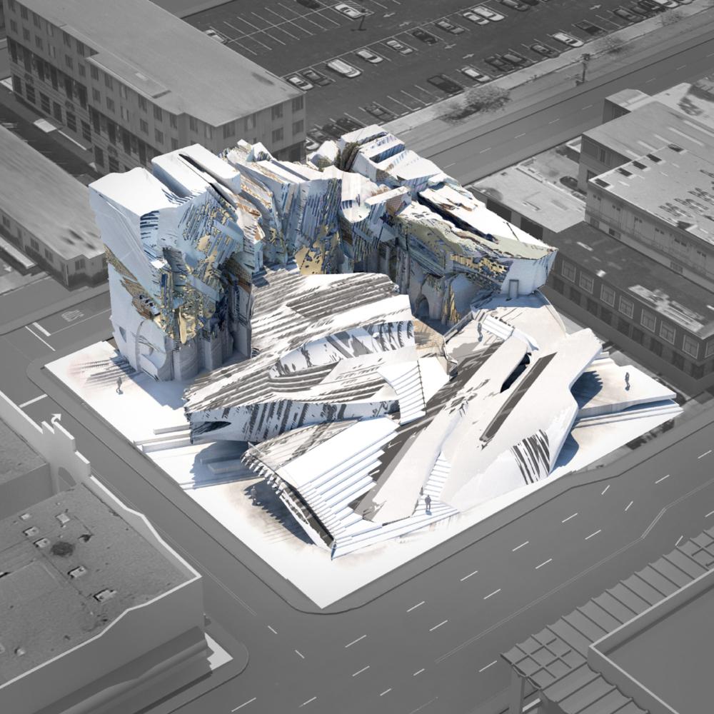 grey architecture render building