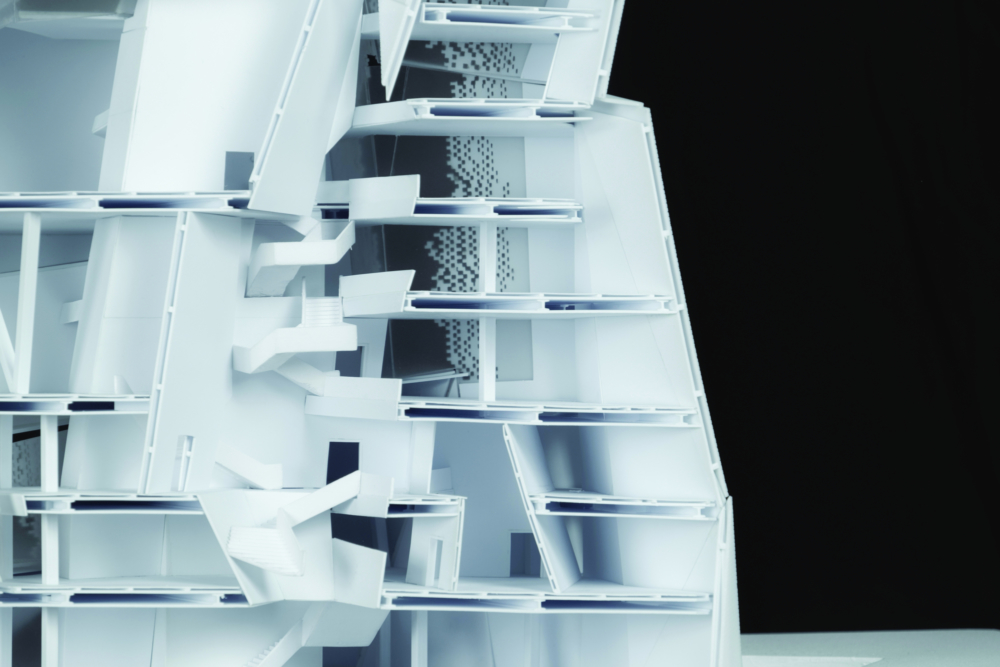 white architecture model section with stairs