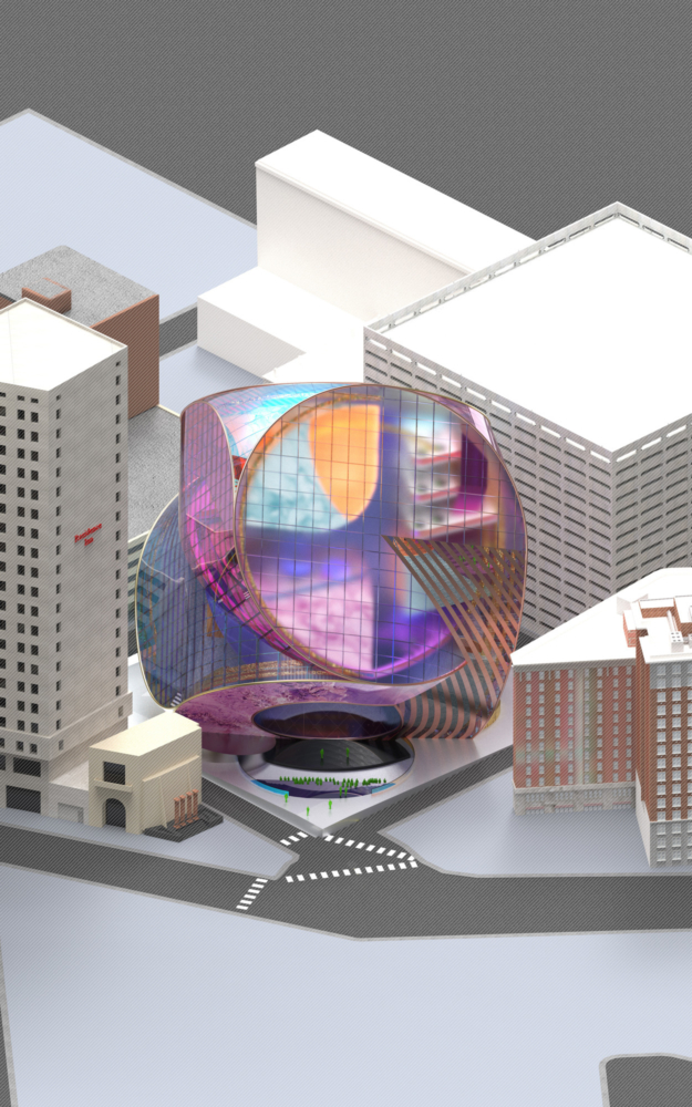 iridescent architectural rendering in a grey city