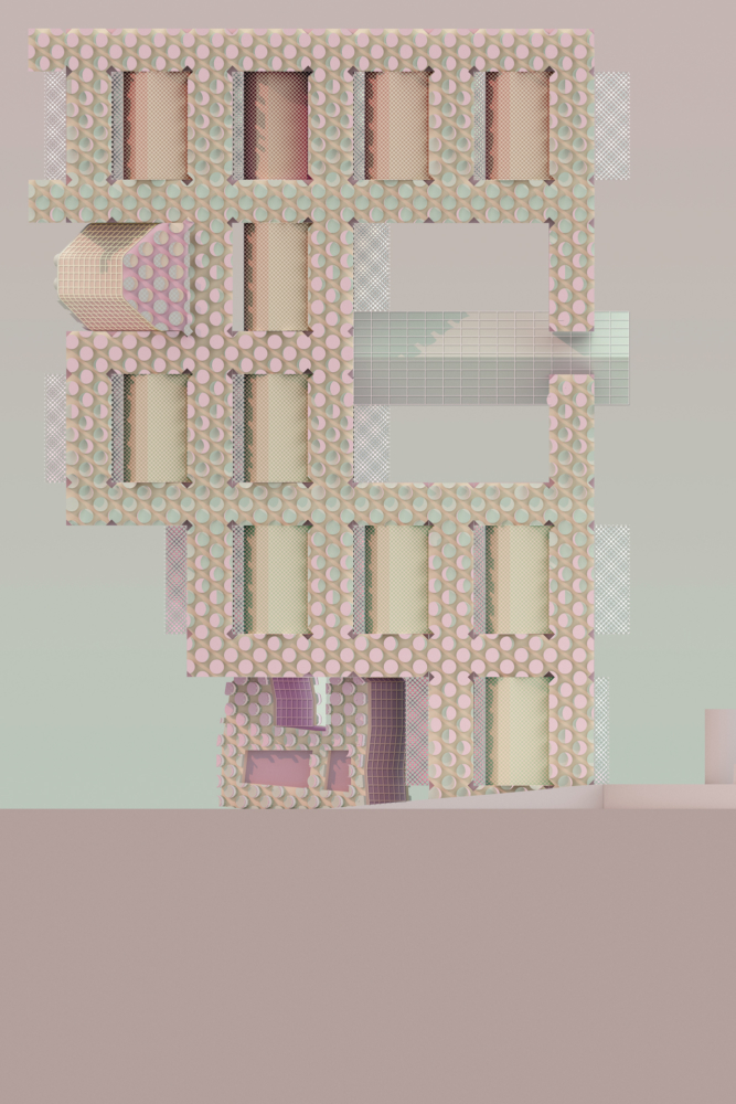 pastel colored building elevation