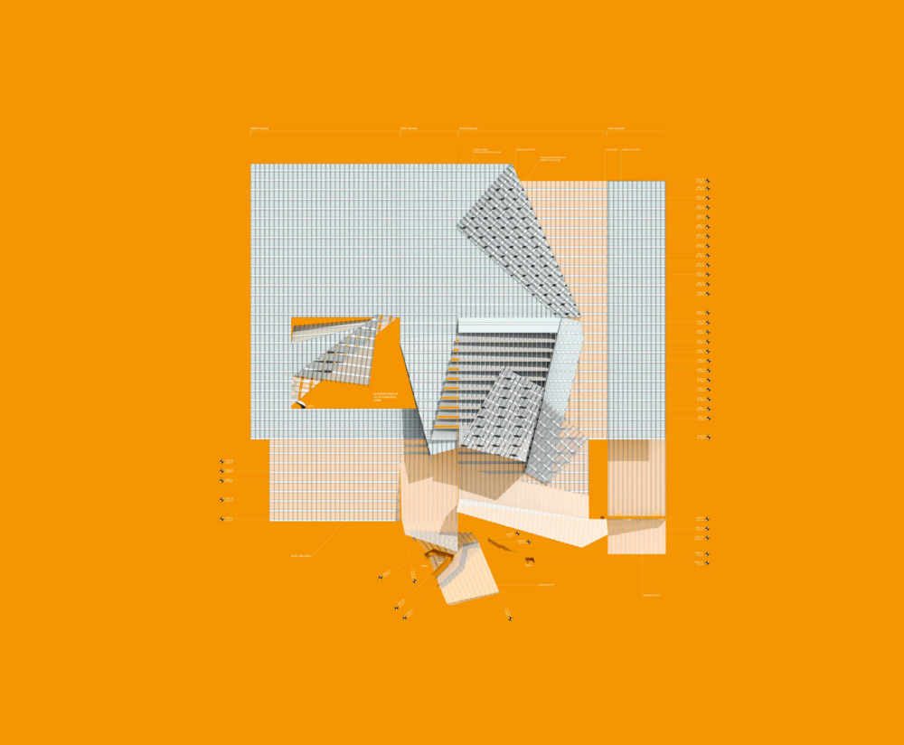orange folding tower top view