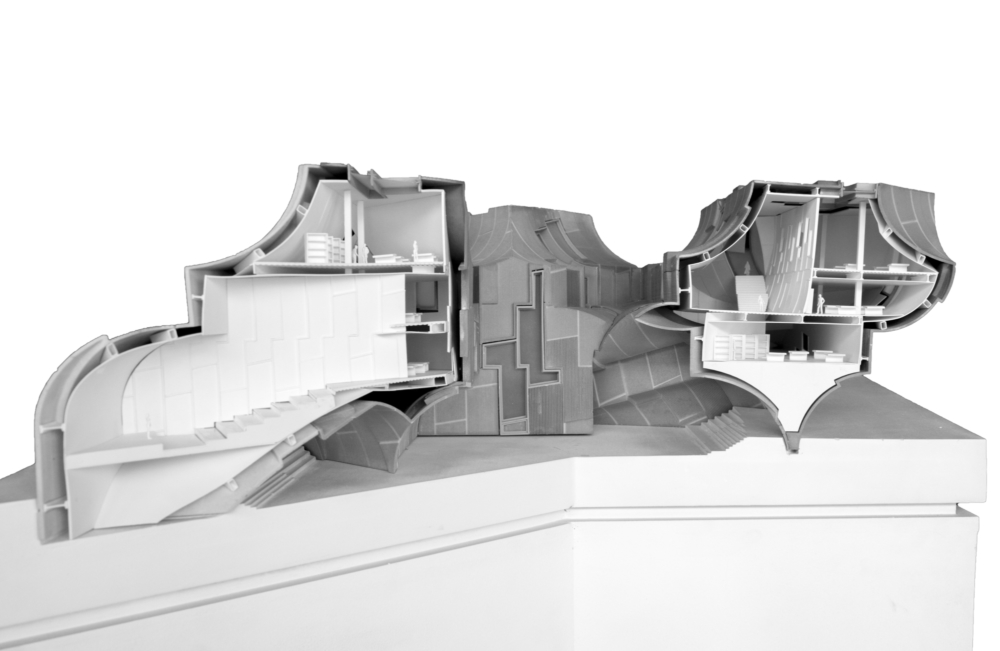 grey and white sectional interior of model