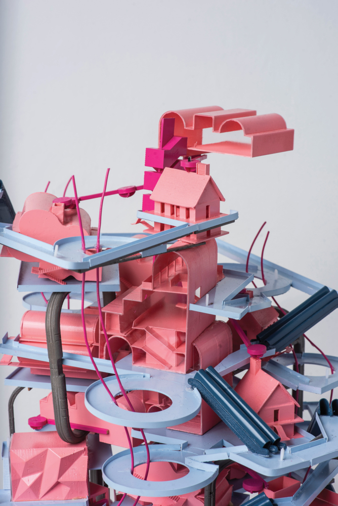 pink and blue architecture model