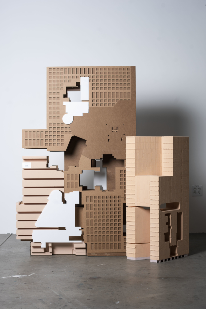 brown beige standing architecture models