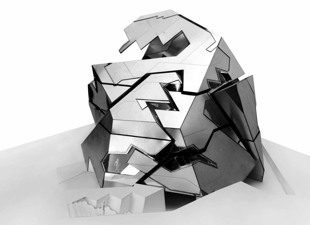 shiny silver puzzle model by student