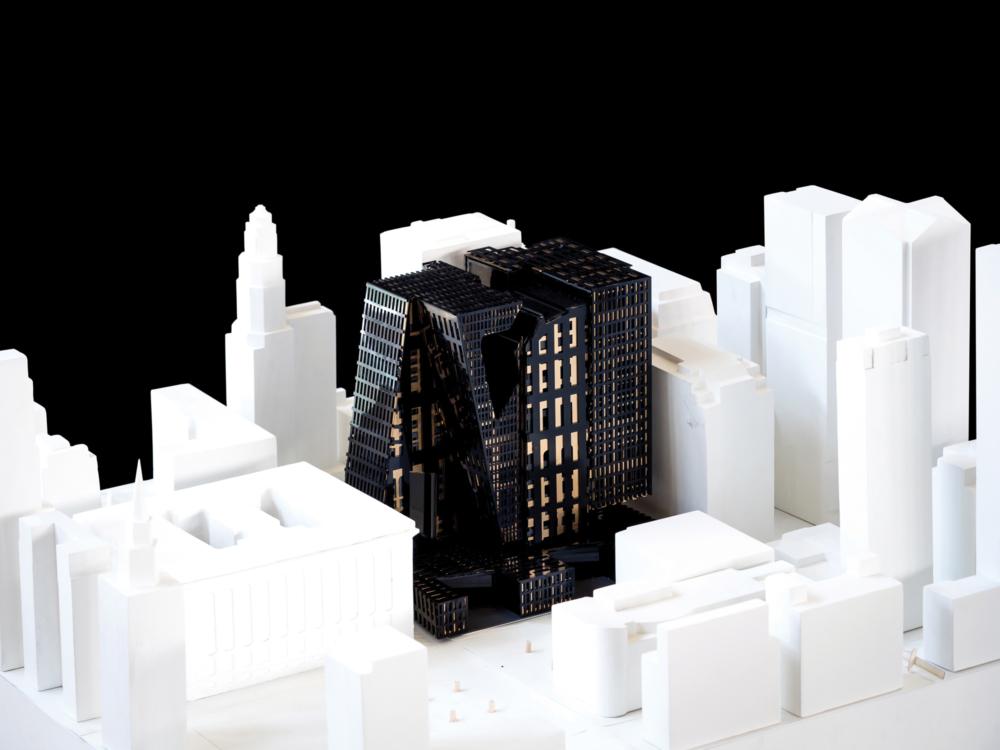 black architecture model in white model city