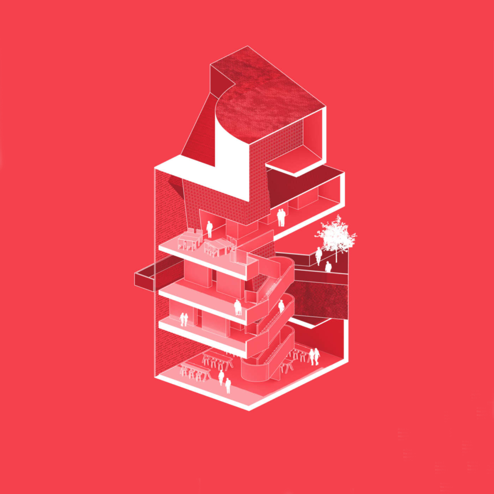 red sectional axonometric view