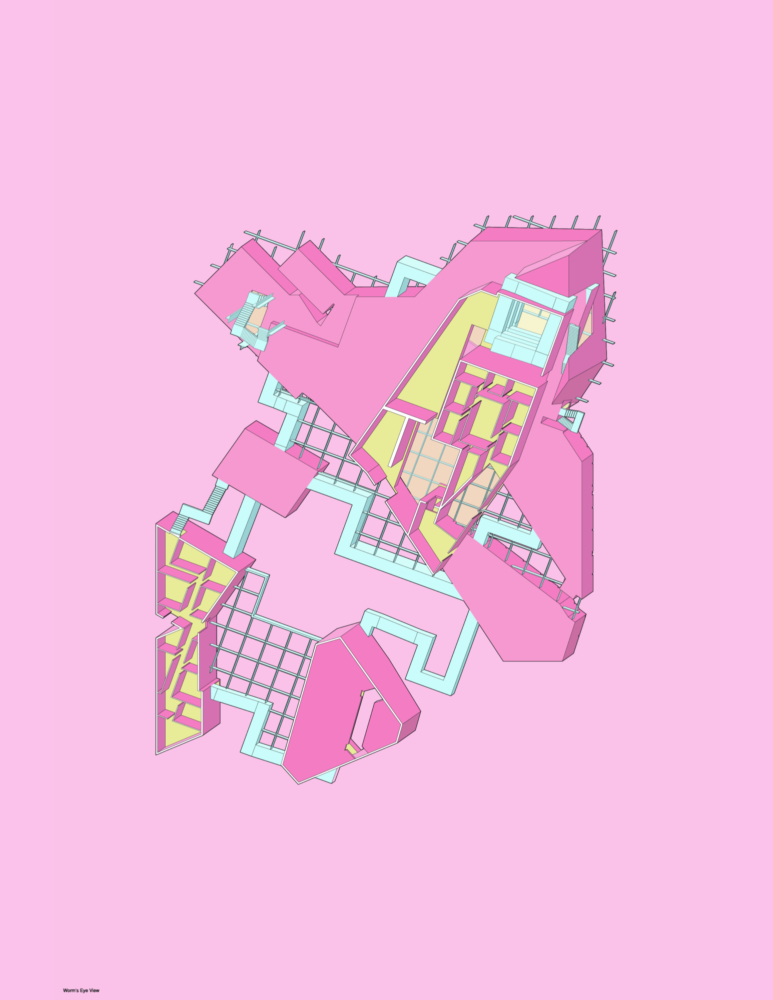 oblique pink plan drawing