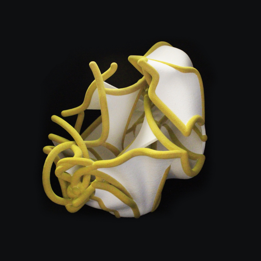 yellow and white 3d printed model