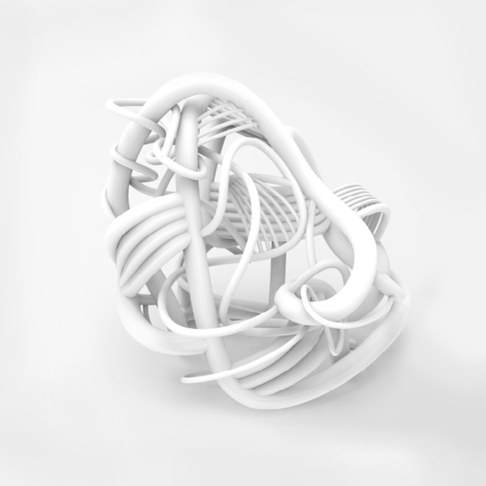 white curvy woven object render
