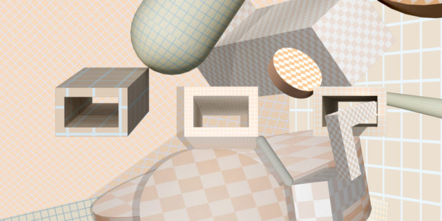 checkerboard pattern objects composition