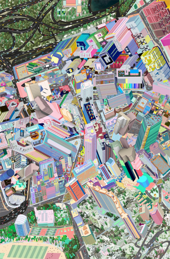 aerial view of a colorful city