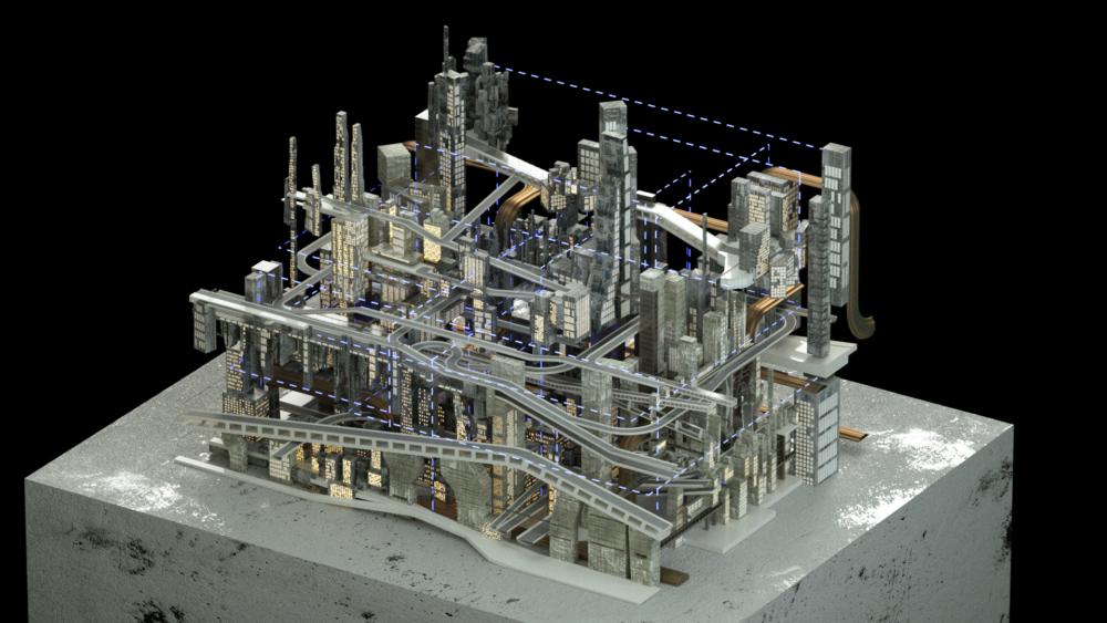 grey city model bridges pedestal