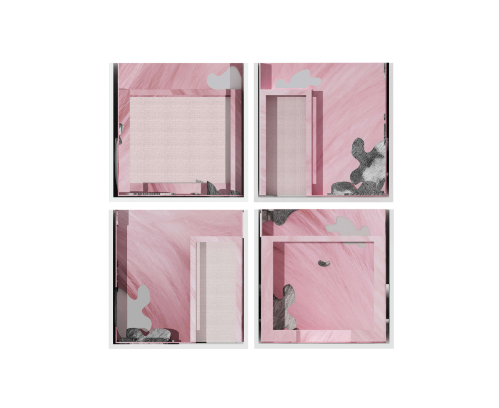 four elevations composition in pink