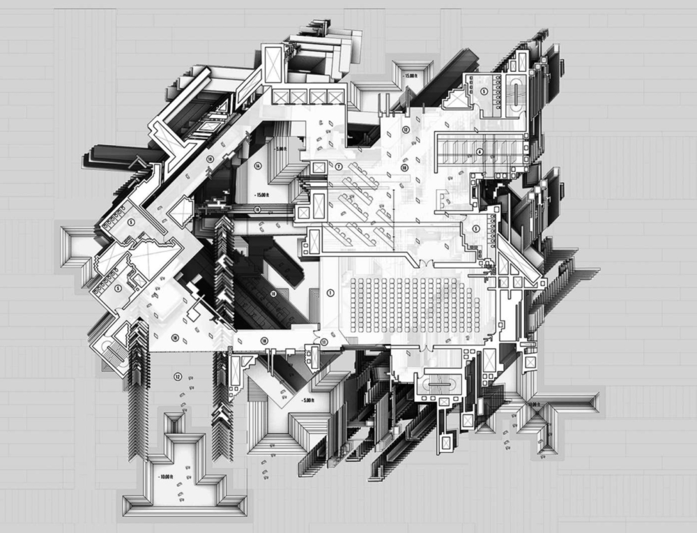 greyscale plan drawing by undergrad student