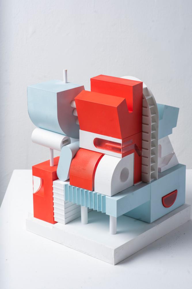 red blue white architecture model